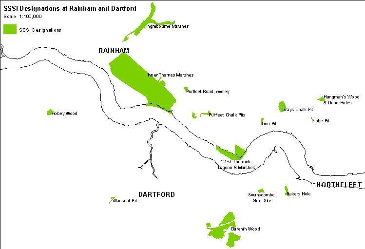 SSSI designations at Rainham and Dartford