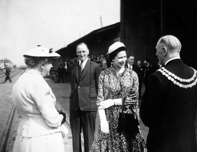 The Queen at the Royal Albert Dock London. (AP Photo by kind permission of the Press Association)