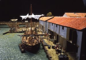 Model of the Roman Port (click on image to enlarge) Image (c) Museum of London