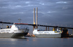Cobelfret Ferries and the QE2 Bridge