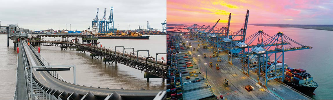 Images: Left: The Cemex jetty at Northfleet, the first major investment plan project completed. Right: DP World London Gateway, winning new services and looking at future growth.