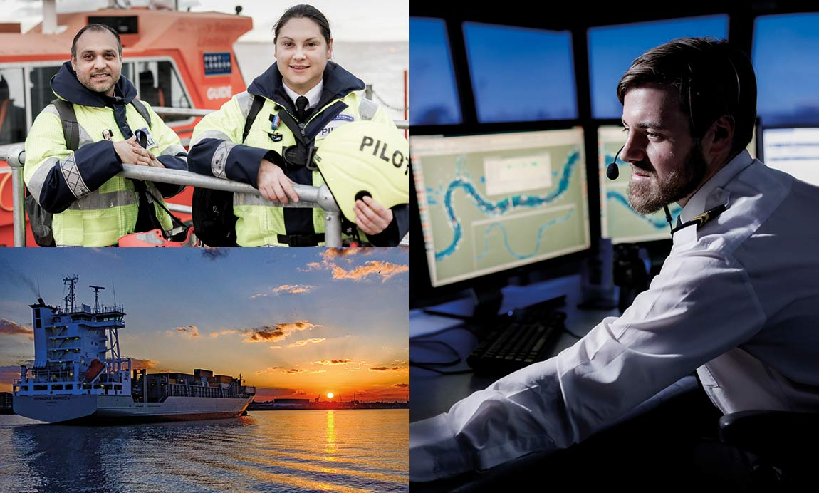 op left: Investment in training pilots underpinned a progressive improvement in customer service levels. Bottom left: Port throughput of 54 million tonnes makes London one of the UK's two major ports. Right: Port control at the heart of our marine safety systems.