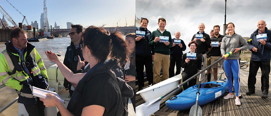 Images: Left: Sharing expertise on a Thames river trip. Right: Launch of the Tideway Code, a combined guide for rowers and paddlers.
