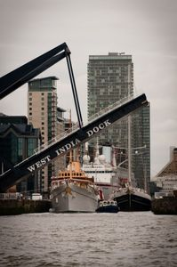 Danish Royal Yacht Dannebrog and Dutch yacht Eendracht prepare to leave West India Dock