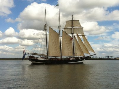 Sail Greenwich vessel Oosterschelde heads down Gravesend Reach