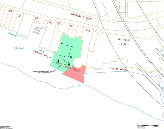 below are two images of the affected area with the exclusion zone marked in red