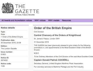 UKMPA Secretary General receives MBE