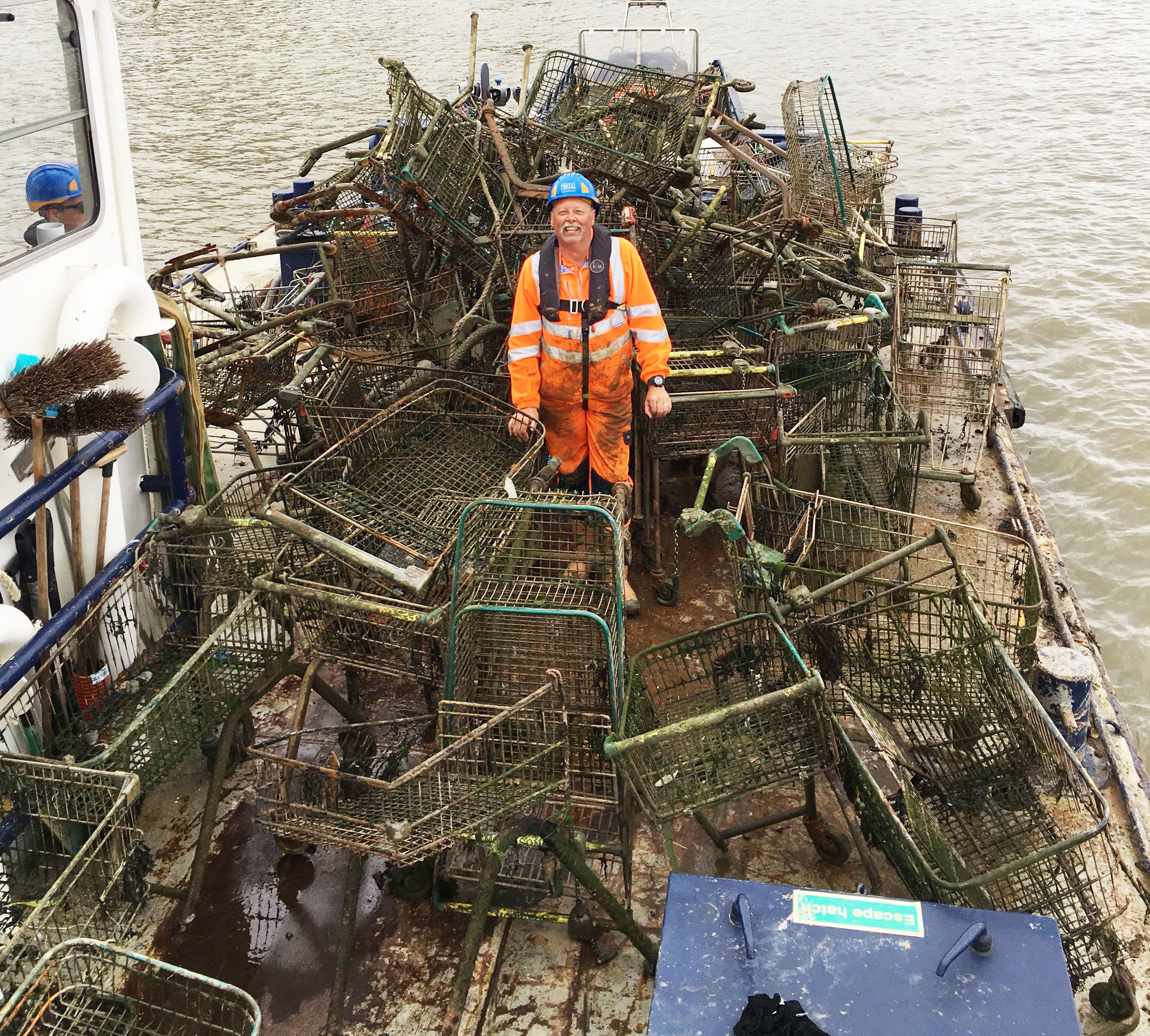 Supermarket heap: trolley haul uncovered during South London foreshore clean-up